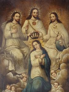 The Coronation of the Virgin with the Holy Trinity by Mexican School