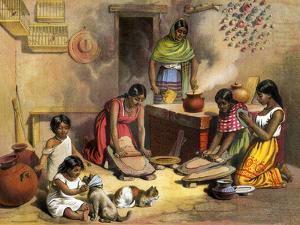Mexican Women Making Tortillas, 1800s