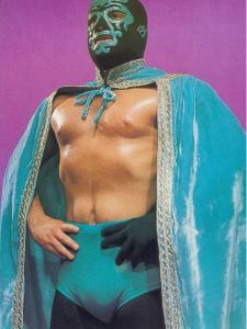 Mexican Wrestler in Turquoise Cape