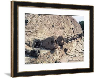 Mexico, Aztec Civilization, Wall with Snake Head from Tenayuca Archaeological Site--Framed Giclee Print