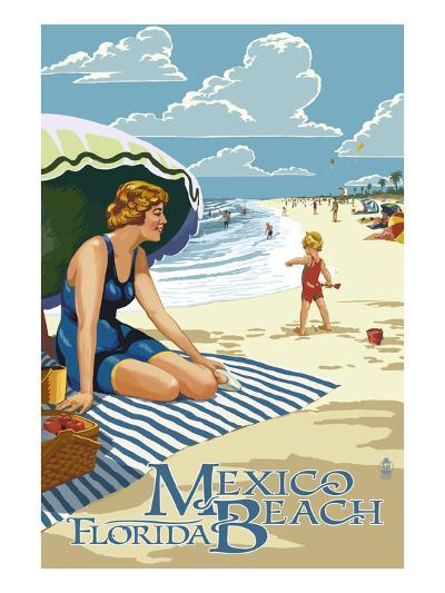 Mexico Beach, Florida - Woman and Beach Scene-Lantern Press-Art Print