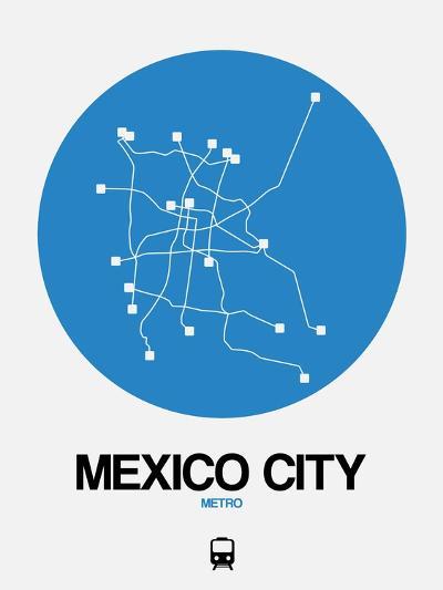 Mexico City Blue Subway Map-NaxArt-Art Print