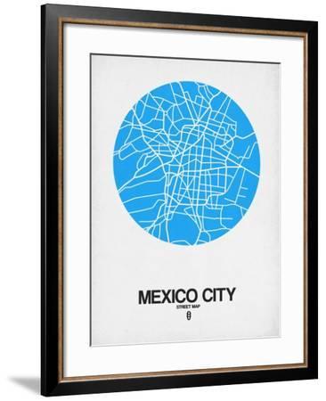 Mexico City Street Map Blue-NaxArt-Framed Art Print