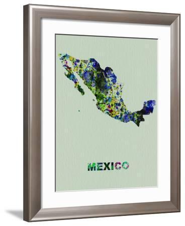Mexico Color Splatter Map-NaxArt-Framed Art Print
