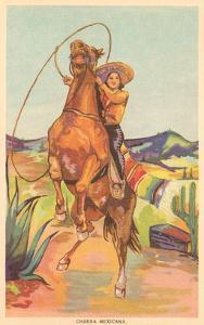Mexico: Cowgirl on Rearing Horse, Charra