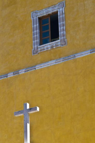 Mexico, Guanajuato. White Cross Against a Yellow Church Wall with Open Window-Judith Zimmerman-Photographic Print