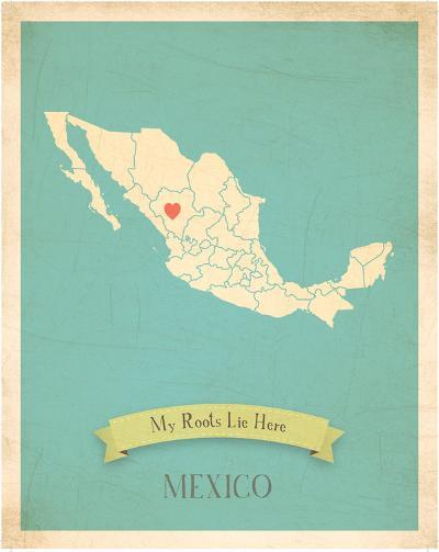 Mexico My Roots Map, blue version (includes stickers)-Rebecca Peragine-Art Print
