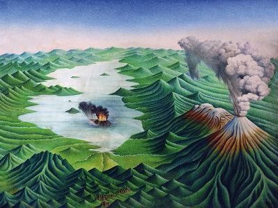 Mexico, Reconstruction of the Geological Formations of the Valley of Mexico and its Volcanoes--Giclee Print