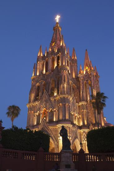 Mexico, San Miguel De Allende. Cathedral of San Miguel Archangel Lit Up at Night-Brenda Tharp-Photographic Print