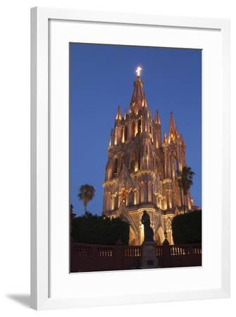 Mexico, San Miguel De Allende. Cathedral of San Miguel Archangel Lit Up at Night-Brenda Tharp-Framed Photographic Print