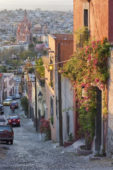 Mexico, San Miguel de Allende. Street scene with overview of city.-Don Paulson-Photographic Print