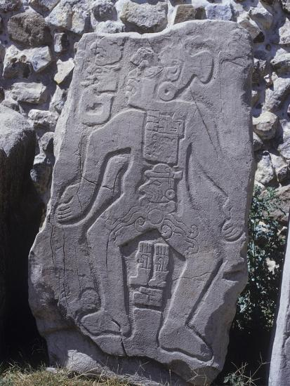 "Mexico, Stone Stele 55 Called ""The Dancer"" with Glyphs and Calendar--Giclee Print"