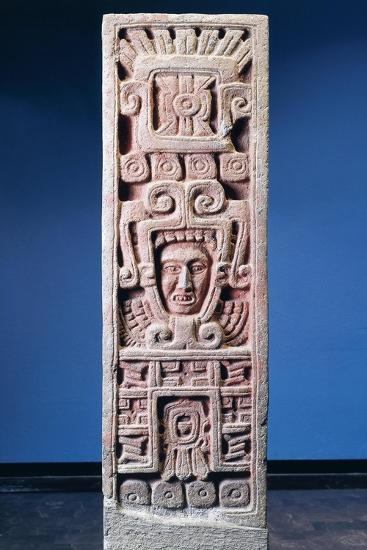 Mexico, Xochicalco, Painted Stone Stele of Birth of Quetzalcoatl--Giclee Print