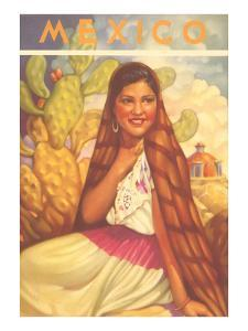 Mexico: Young Girl and Cactus , Poster Style