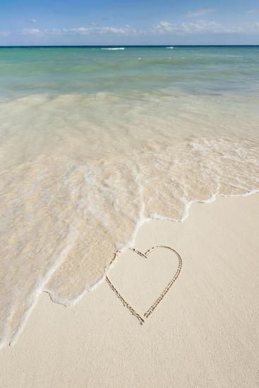 Mexico, Yucatan, Heart Drawing in Sand on Beach-Tetra Images-Photographic Print