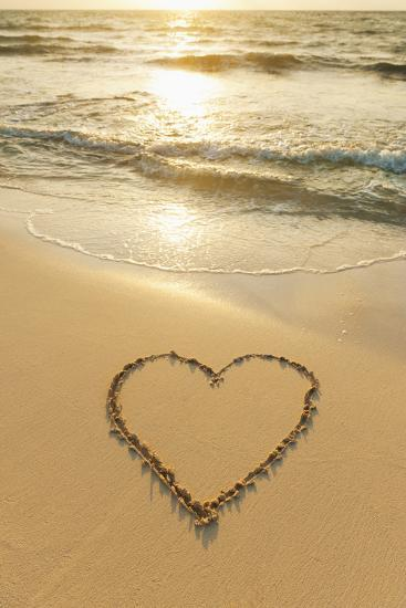 Mexico, Yucatan, Heart Drawn in Sand on Beach-Tetra Images-Photographic Print