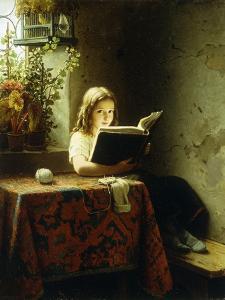 A Girl Reading by Meyer Johan Georg