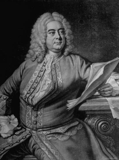 Mezzotint Engraving Based on Painted Portrait of Composer George Frideric Handel--Photographic Print