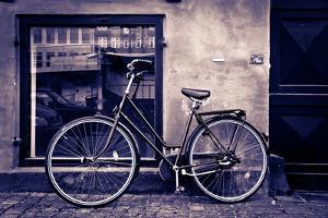 Classic Vintage Retro City Bicycle In Copenhagen, Denmark by mffoto