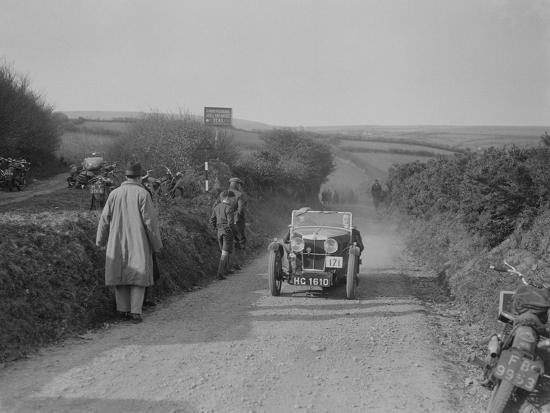 MG J2 of JWS Utley competing in the MCC Lands End Trial, Beggars Roost, Exmoor, 1933-Bill Brunell-Photographic Print