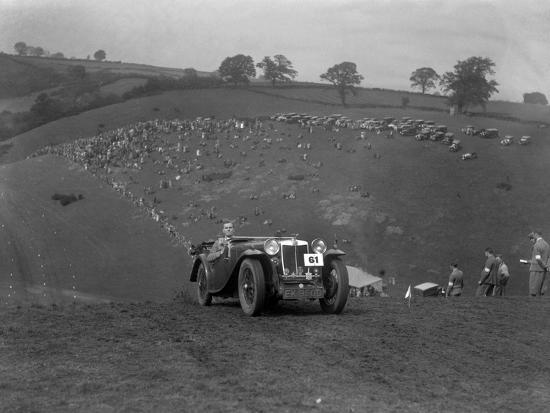 MG Magnette competing in the MG Car Club Rushmere Hillclimb, Shropshire, 1935-Bill Brunell-Photographic Print