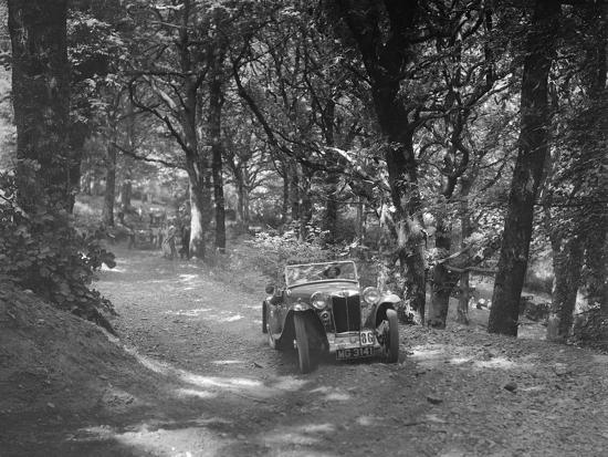 MG PA taking part in the B&HMC Brighton-Beer Trial, Fingle Bridge Hill, Devon, 1934-Bill Brunell-Photographic Print