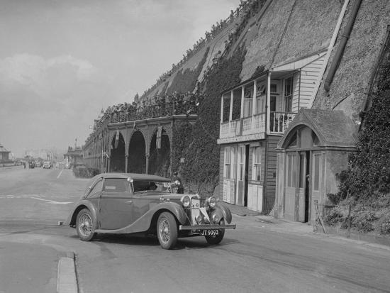 MG VA Tickford tourer of Lilian Roper competing in the RAC Rally, Madeira Drive, Brighton, 1939-Bill Brunell-Photographic Print