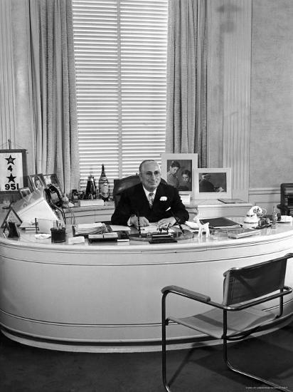 MGM Movie Mogul Louis B. Mayer, Sitting at His Desk in His Office-Walter Sanders-Premium Photographic Print