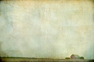 Barren Field with Red Barn by Mia Friedrich
