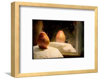 Pear against Framed Mirror