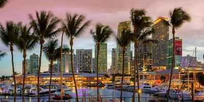 Miami, Bayside Shopping Mall at Dusk-John Kellerman-Photographic Print