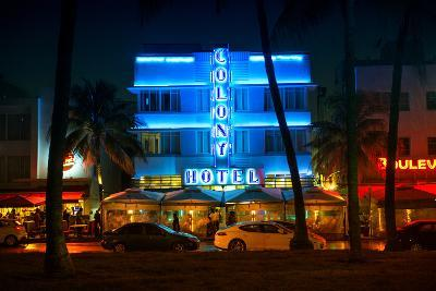 Miami Beach Art Deco District - The Colony Hotel by Night - Ocean Drive - Florida-Philippe Hugonnard-Photographic Print