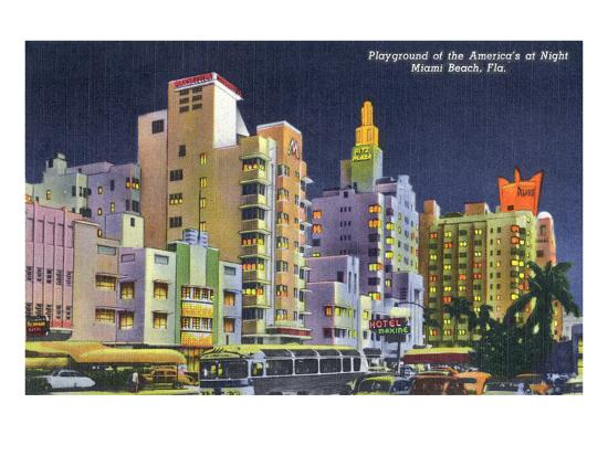 Miami Beach, Florida - City Scene at Night-Lantern Press-Art Print