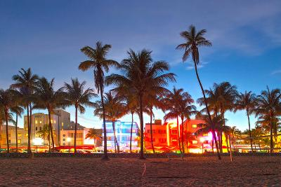 Miami Beach Florida Hotels And Restaurants At Sunset-Fotomak-Photographic Print