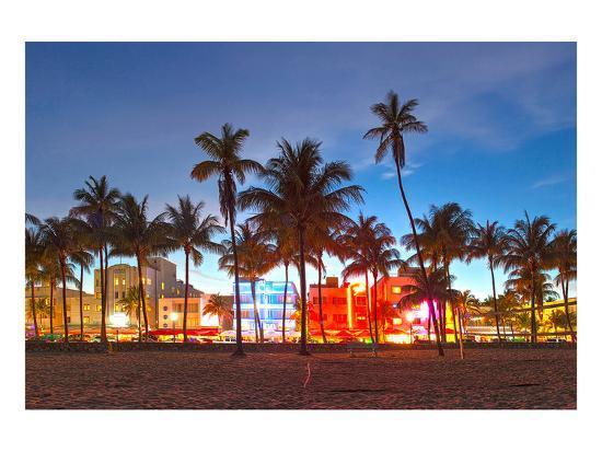 Miami Beach Hotels on Ocean Dr--Art Print