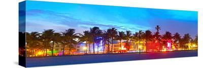 Miami Beach Sunset Ocean Drive--Stretched Canvas Print