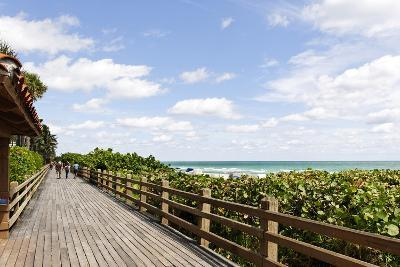 Miami Boardwalk, Wooden Jetty for Strolling from 23 St. to the Indian Beach Park in 44 St., Florida-Axel Schmies-Photographic Print