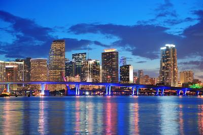 Miami City Skyline Panorama at Dusk with Urban Skyscrapers and Bridge over Sea with Reflection-Songquan Deng-Photographic Print