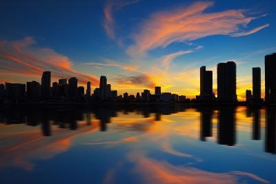 Miami City Skyline Panorama at Dusk-prochasson-Photographic Print