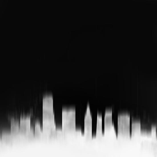 Miami City Skyline - White-NaxArt-Art Print