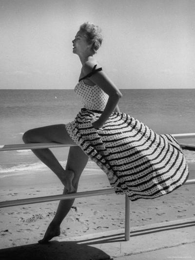 Miami Fashions, Model in Suitable Settings For Afternoon and Casual Play Clothes-Nina Leen-Photographic Print