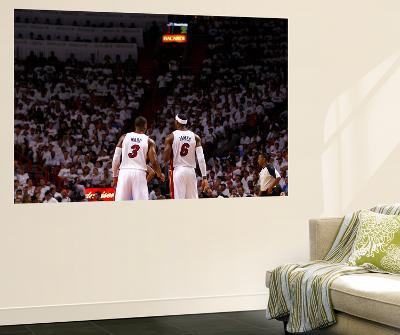 Miami, FL - June 17: Dwyane Wade and LeBron James-Andrew Bernstein-Wall Mural
