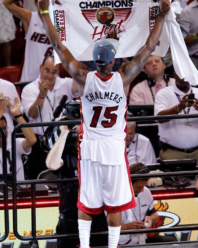 Miami, FL - June 21:  Miami Heat and Oklahoma City Thunder Game Five, Mario Chalmers-Mike Ehrmann-Photo