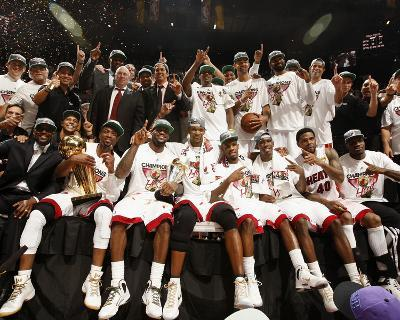 Miami, FL - June 21:  The Miami Heat pose for a team photo after defeating the Oklahoma City Thunde-Issac Baldizon-Photo