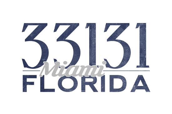 Miami, Florida - 33131 Zip Code (Blue)-Lantern Press-Art Print