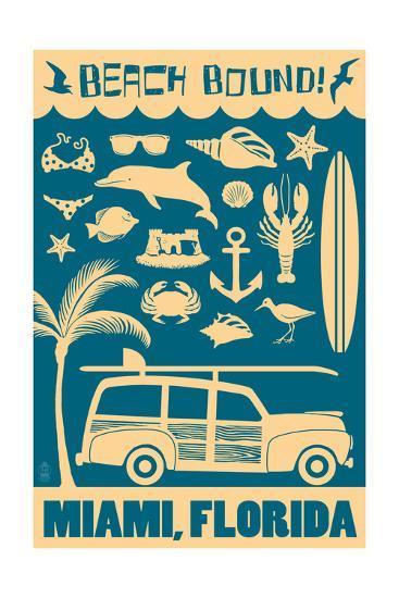 Miami, Florida - Coastal Icons-Lantern Press-Art Print