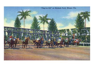 Miami, Florida - Hialeah Park; Horse Race Start Scene-Lantern Press-Art Print