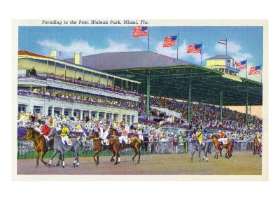 Miami, Florida - Hialeah Park; Parading to the Post Scene-Lantern Press-Art Print