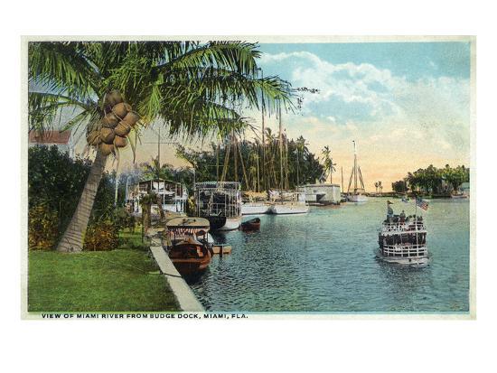 Miami, Florida - Miami River from Budge Dock-Lantern Press-Art Print