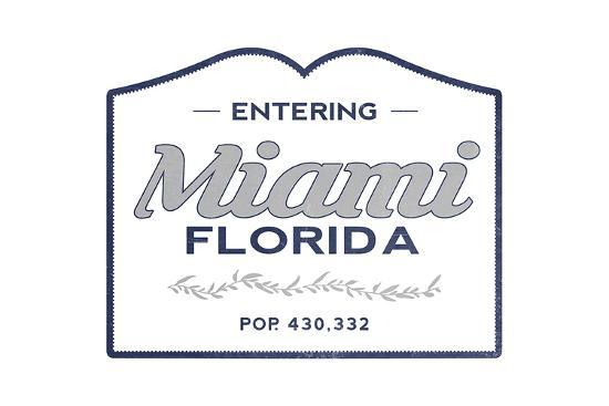 Miami, Florida - Now Entering (Blue)-Lantern Press-Art Print